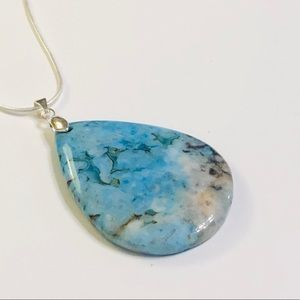 Pretty Light Blue Crazy Lace Agate Necklace